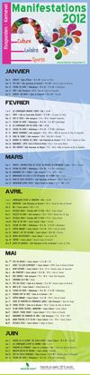 Calendrier des manifestations 2012