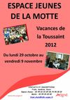 programme des vacances de la Toussaint espace jeunes de la Motte